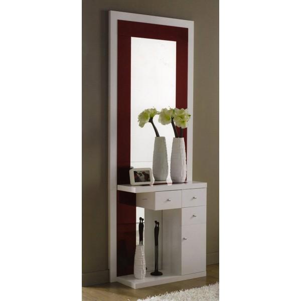 Recibidor entrada mural con espejo y puertas y cajones - Recibidores con espejo ...