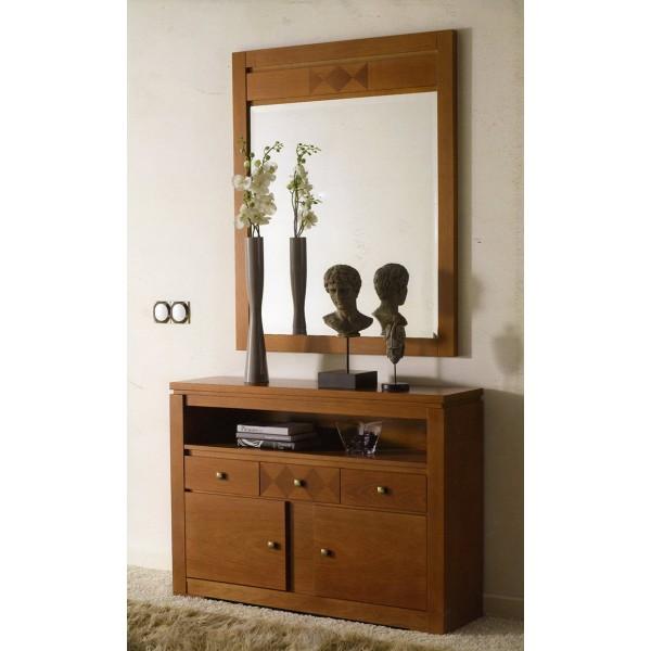 Recibidor entrada taquillon con espejo clasico moderno - Espejo recibidor moderno ...