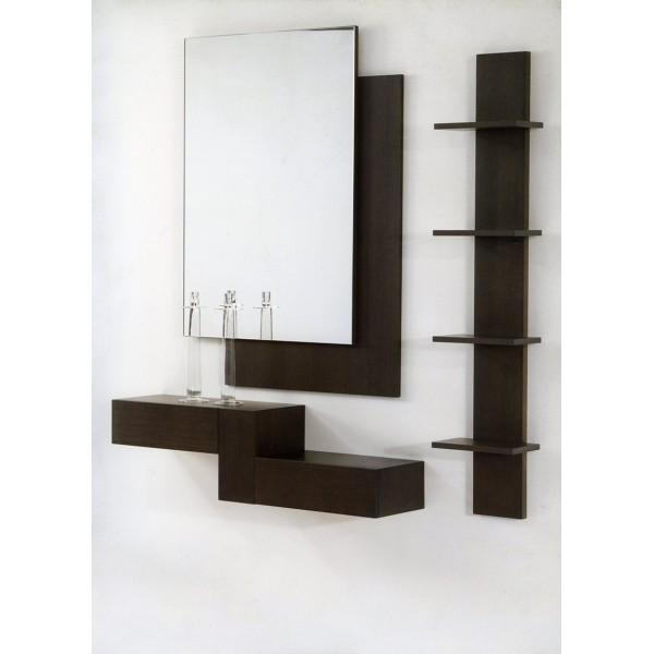 Recibidor entradita con espejo y cajones for Espejos de diseno para recibidor
