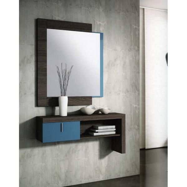 Recibidor entradita consola con espejos y cajones for Espejos de diseno para recibidor