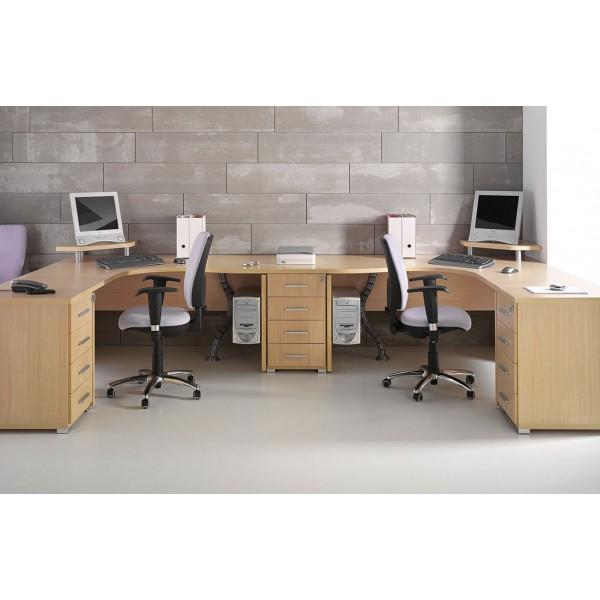 Mesa de oficina o estudio de madera angular for Mesas para oficina precios