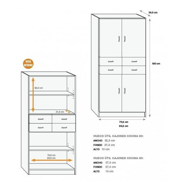 Armario auxiliar cocina muebles mobelsanz for Medidas estandar de cajones de cocina