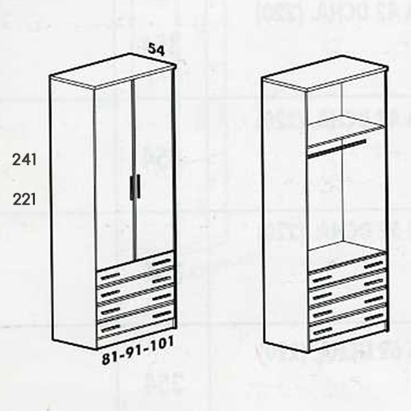 Armario Juvenil De 2 Puertas Abatibles Con 4 Cajones