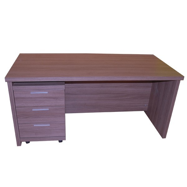 Mesa de oficina o estudio de madera con cajonera for Mesas para oficina precios