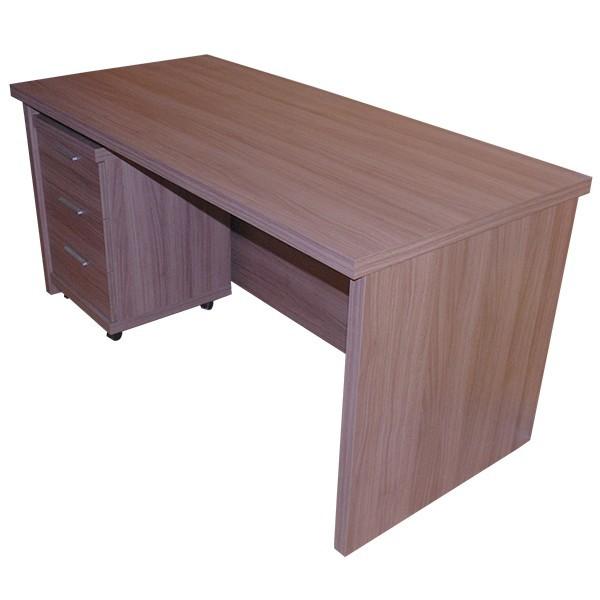 mesa de oficina o estudio de madera con cajonera